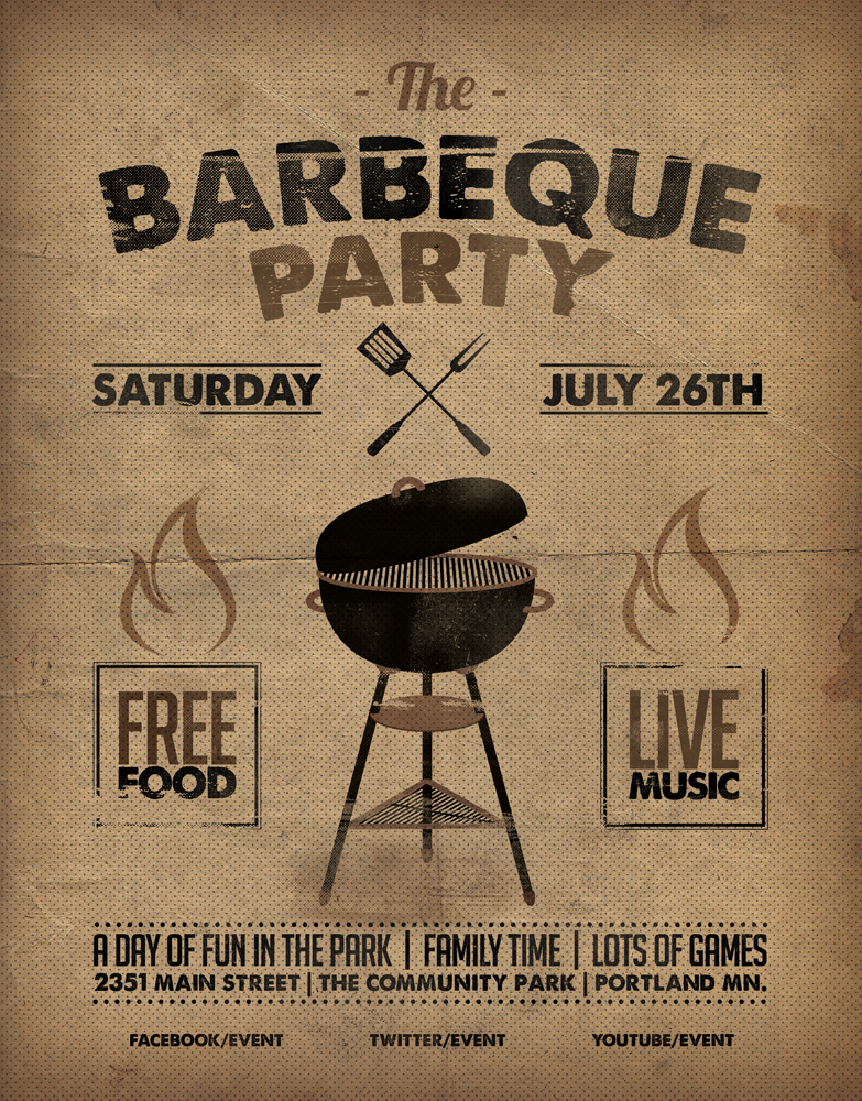 Barbeque Flyer Template mono