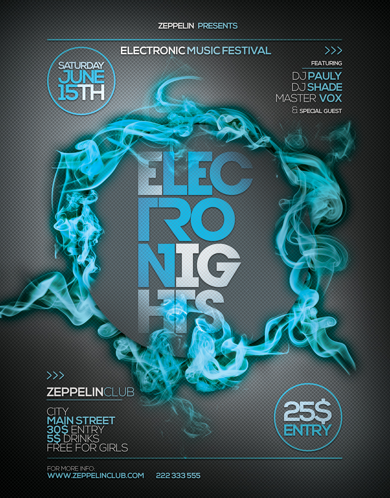 Electro Nights Vol 8 Flyer Template