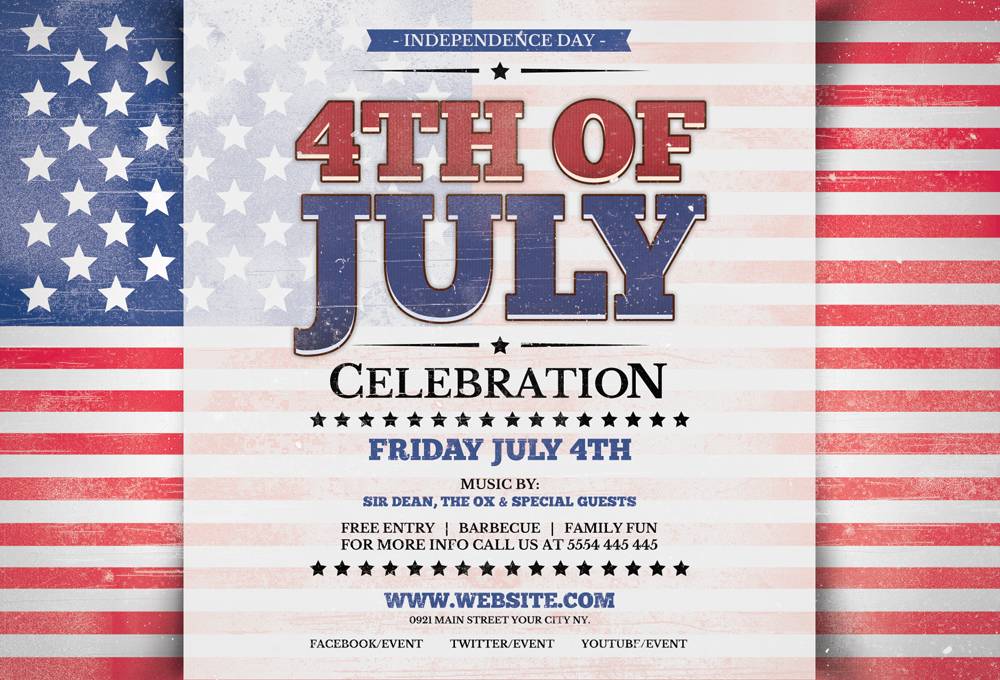 Fourth Of July Horizontal Flyer Template