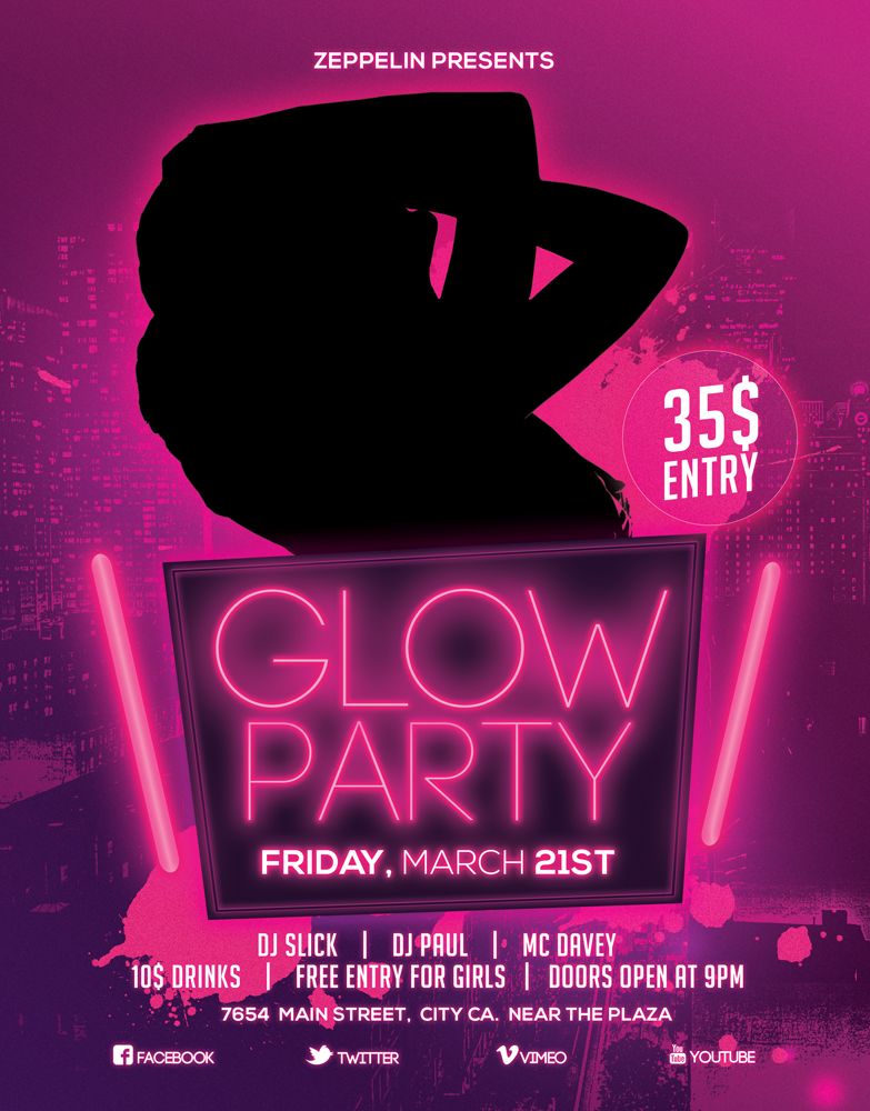 Glow Party Flyer 1